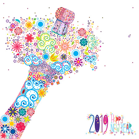 An abstract vector illustration of flowers popping from a champagne bottle with a fizz of  floral splash for the New Year 2019 on a white background Ilustração