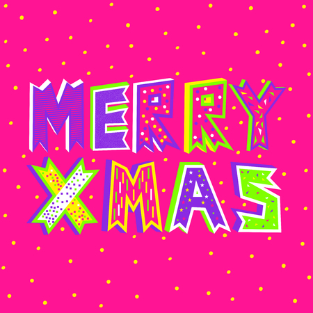 A vector illustration of Merry Christmas typography in plastic pink on a decorative snowfall background