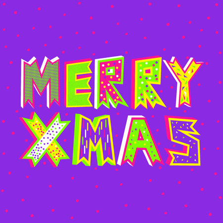 A vector illustration of Merry Christmas typography in proton purple on a decorative snowfall background