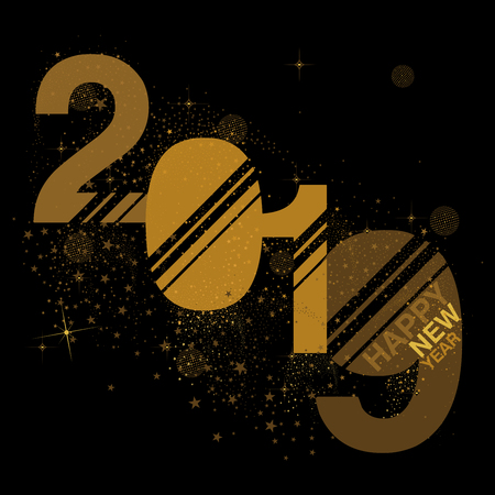 Black and gold 2019 New Year numerals designed with stars and sparkles Stock Illustratie