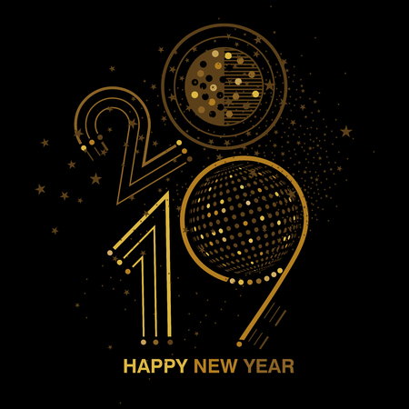 Black and gold 2019 New Year bling design with discoball and sparkles