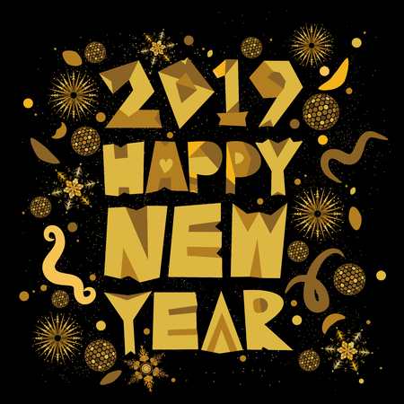 Vector typography of Happy New Year 2019 in black and gold design