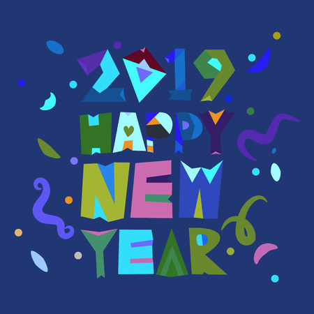 Typography of Happy New Year 2019 in a colorful design on a blue   background Stock Illustratie