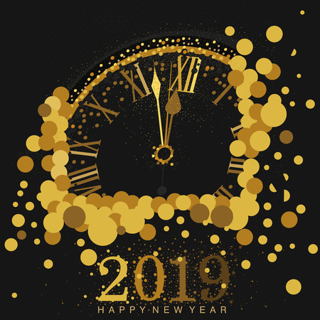 Gold Clock indicating countdown to 12 O Clock 2019 New Years Eve on a   black background amidst bubbles Ilustração