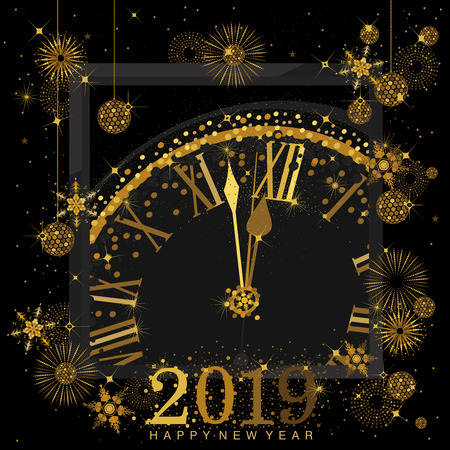 Gold Clock indicating countdown to 12 O Clock 2019 New Years Eve on a   black background with abstract snowflakes and fireworks