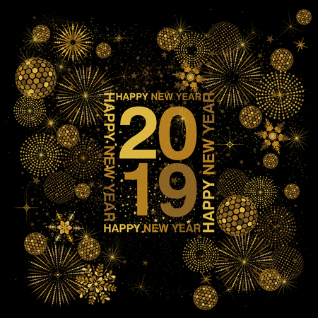 Rectangle typography frame with Happy New Year lettering around 2019   numerals in gold on a black background with abstract snowflakes fireworks   and disco balls Ilustração