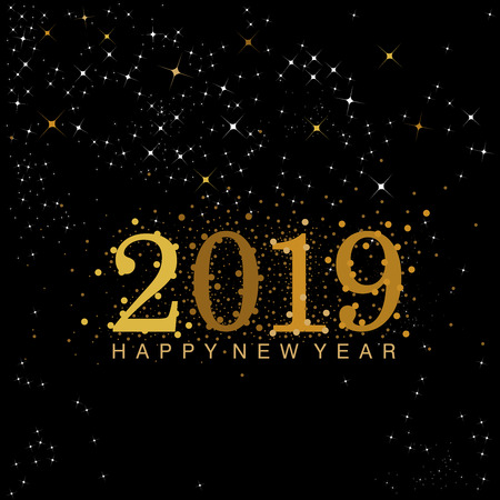 Black and gold 2019 New Year numerals designed with stars and sparkles Ilustração