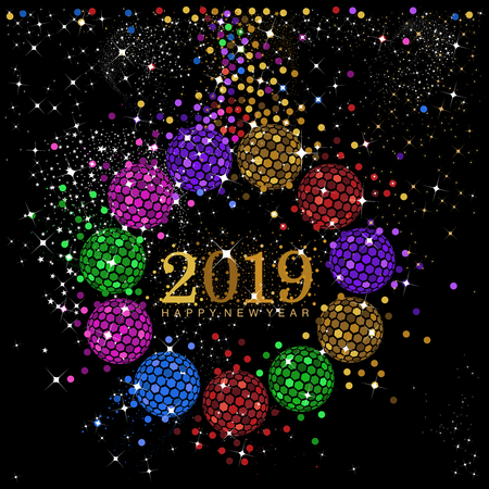 A vector design of rainbow color baubles in a circular format with New Year   2019 text in the center