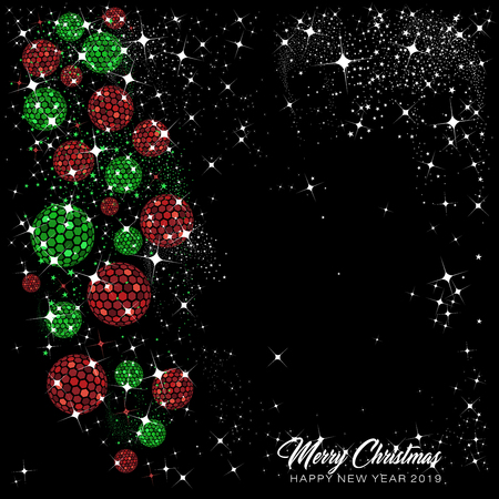 Hexagon disco balls and baubles in red and green with stars and sparkles   on a black background