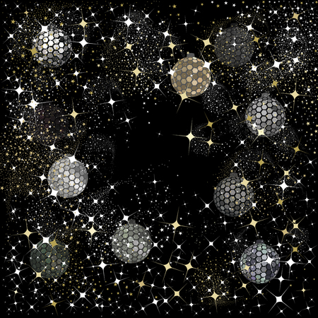 Hexagon silver and black disco balls with stars and sparkles on a black background for   the Christmas and New Year season of 2019