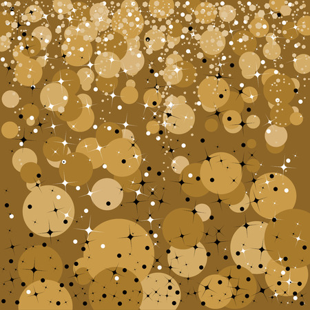 Gold abstract background designed with stars and sparkles for the holiday season Ilustração