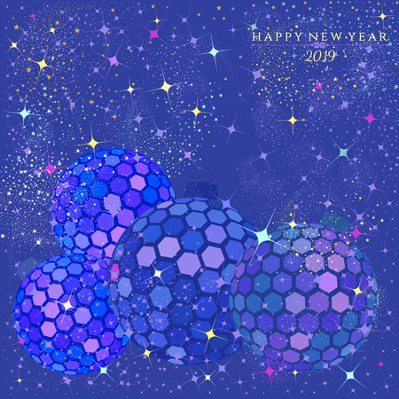 Hexagon disco balls with stars and sparkles on an electric blue color background for   the Christmas and New Year season of 2019