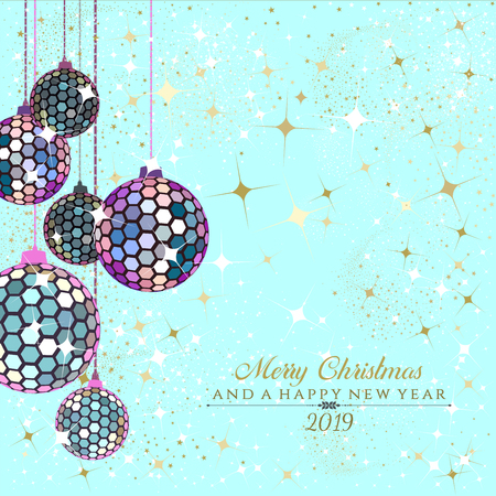 Hexagon disco balls in iridescent and gold with stars and sparkles on teal trendy   background with the text Merry Christmas and a Happy New Year 2019