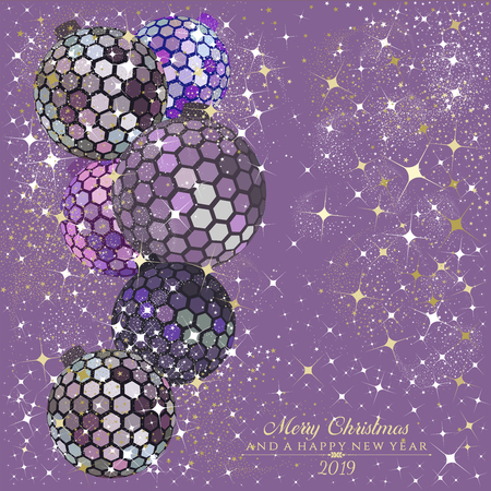 Hexagon disco balls in mauve and rose gold with stars and sparkles on a mauve   background with the text Merry Christmas and a Happy New Year 2019 Ilustração
