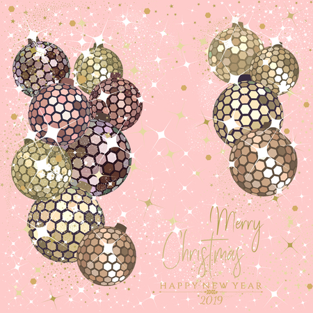 Hexagon rose gold disco balls with stars and sparkles on a pale pink background for the Christmas and New Year season of 2019