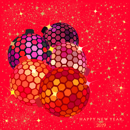 Hexagon disco balls with stars and sparkles on a bright red color background for the   Christmas and New Year season of 2019