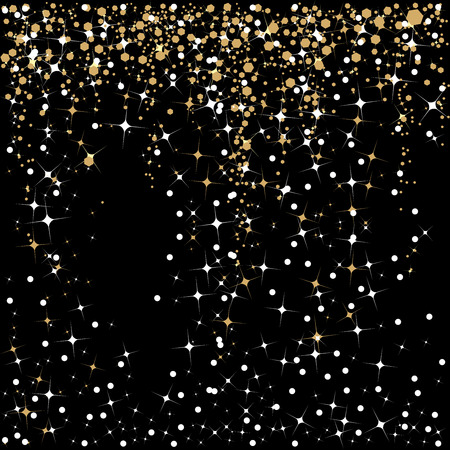 Falling stars and sparkles in white and gold on a black background for the holiday   season