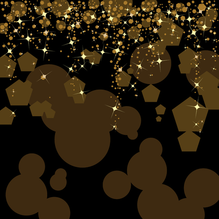 Black and gold abstract background designed with stars and sparkles on circular and   hexagonal patterns Ilustração