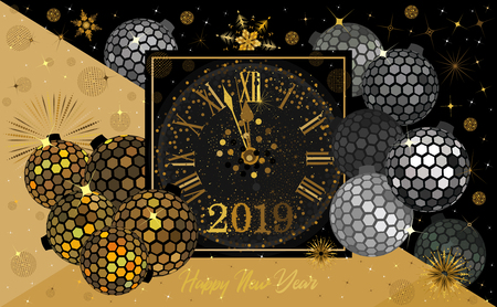 Hexagon gold and black disco balls with a clock and firework sparkles for the   Christmas and New Year season of 2019