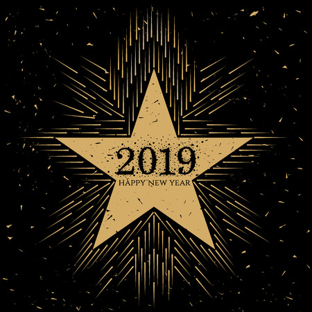 Black and gold abstract grungy star with 2019 and Happy New Year text