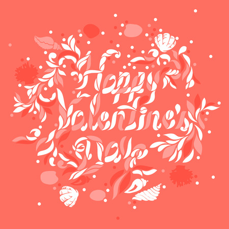 Abstract vector art on Happy Valentines day typography design in living coral color scheme
