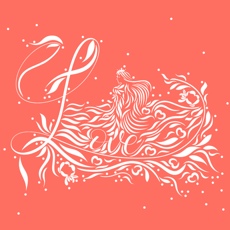Vector abstract representation of Love typography design with an under water fantasy floating love goddess with tiny bubbles in white on living coral background color 50-EXACT