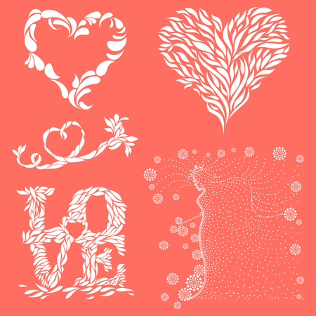 Five abstract vector mnemonics of hearts and goddess of love on living coral background color