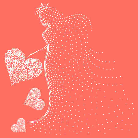Love triangle concept with Goddess of Love in white an abstract vector design for Valentines day on living coral background color