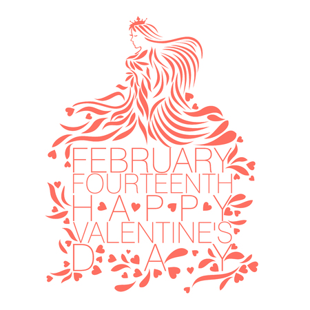 Abstract vector design of Love goddess in living coral color with the text February Fourteenth Happy Valentines Day on a white background color