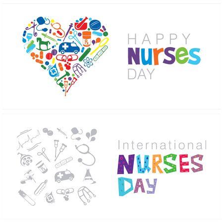 A set of two cards on Happy Nurses Day on a white background Ilustração