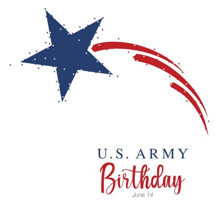 An abstract vector illustration of United States Army birthday with a big blue star and three red stripes with pixie dust effect Vectores