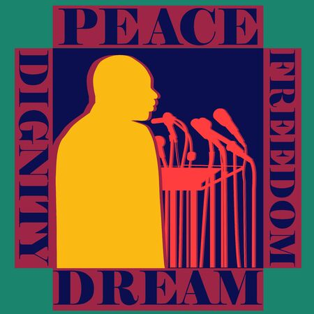 Profile view of a man giving speech on American dream Peace Freedom and human Dignity