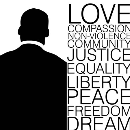 Back view of a man in black and white with ten words on Civil rights movement Illustration