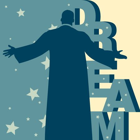 Back view of a man with outstretched arms and behind is a vertical mnemonic on the word Dream amidst few stars backdrop