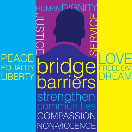 Back view of a man with words on Civil rights movement in multiple colors on Martin Luther King Jr Day Illustration