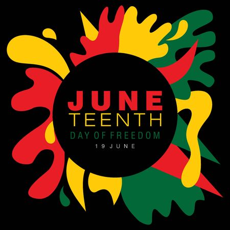 Juneteenth simple typography on a splash of abstract designs in national colors 向量圖像