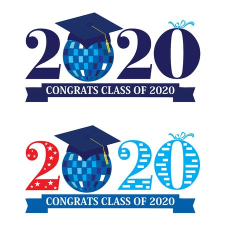 Set of two vector design illustrations on Class of 2020 with a graduation cap placed on a disco ball