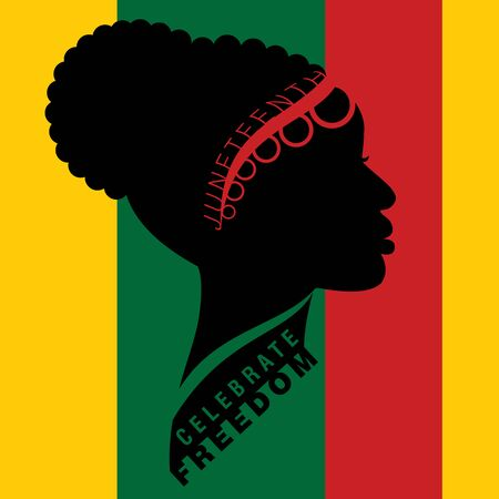Afro-american woman in traditional cornrow up-do bun hairstyle with lettering on Freedom