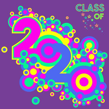 Retro style vector illustration on Class of 2020 on an isolated purple background