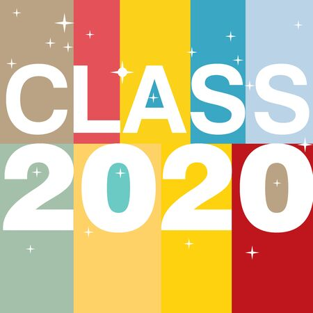 Class of 2020 in bold block style flat color backgrounds and huge lettering with shiny sparkles 向量圖像