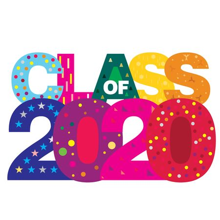 Decorative style vector illustration of Class of 2020 on an isolated white background