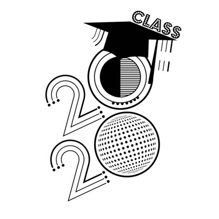 A black and white abstract vector illustration of Class of 2020 in retro disco ball style illustration 向量圖像