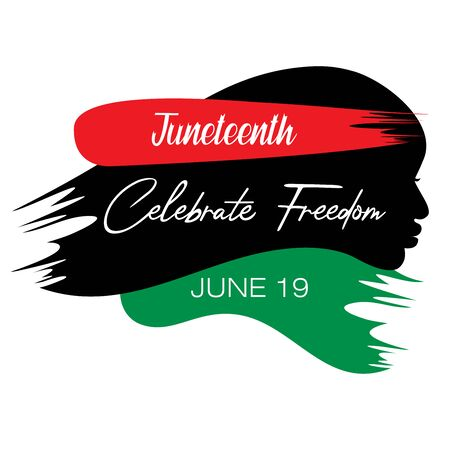 Abstract vector illustration of a black face in a single brush stroke style with text Celebrate Freedom for Juneteenth