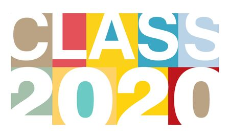 Colorful horizontal vector illustration on Class of 2020 in modern minimalist style 向量圖像