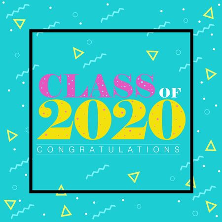 Memphis style vector illustration on Class of 2020 with the word Congratulations
