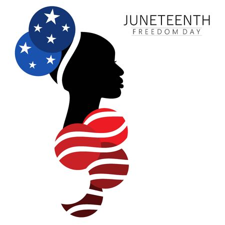 Patriotic Afro-american woman in traditional up-do historic hairstyle with abstract costume in national flag colors Vetores
