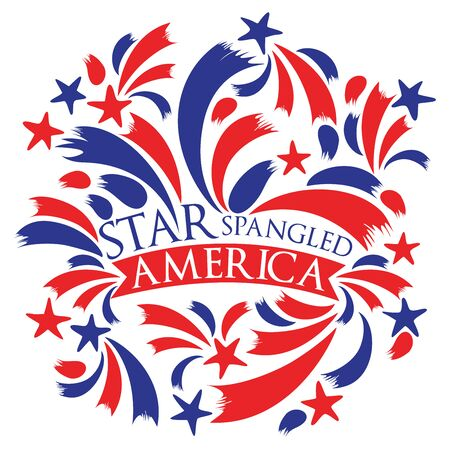 Vector illustration of Star spangled America with stars and stripes on an isolated white background