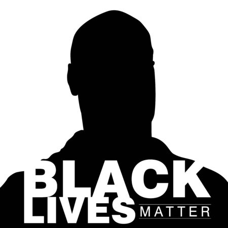 Vector silhouette illustration of a black man with a caption Black Lives Matter on the foreground