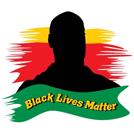 Vector silhouette illustration of a black man on a yellow green and red brush strokes background with a caption Black Lives Matter on the foreground
