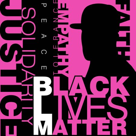 Vector illustration of a faceless black man wearing a cap on a neon pink background with a caption Black Lives Matter on the foreground